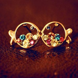 NEW multi color CZ gold plated fish stud earrings